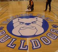 งาน floor graphic สนามบาส ทีม bangkok prep bulldogs