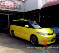 Toyota Estima full wrap yellow gloss