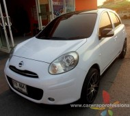 Nissan March Full Wrap White gloss