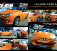 Peugeot 206 cc Full Wrap Orange Matte